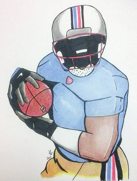 Drawing - Football Player by Loretta Nash