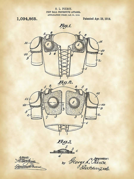 Pads Digital Art - Football Shoulder Pads Patent 1913 - Vintage by Stephen Younts