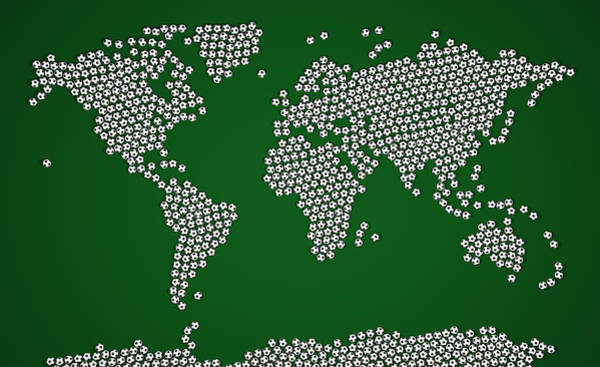 Geography Wall Art - Digital Art - Football Soccer Balls World Map by Michael Tompsett