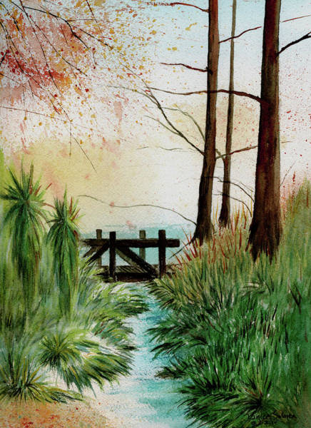 Sand Creek Painting - Footbridge by Janice Sobien