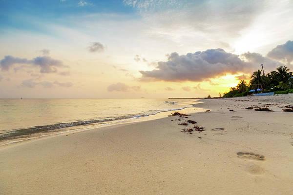 Photograph - Footprints In Sand On Beach At Sunrise by Susan Schmitz