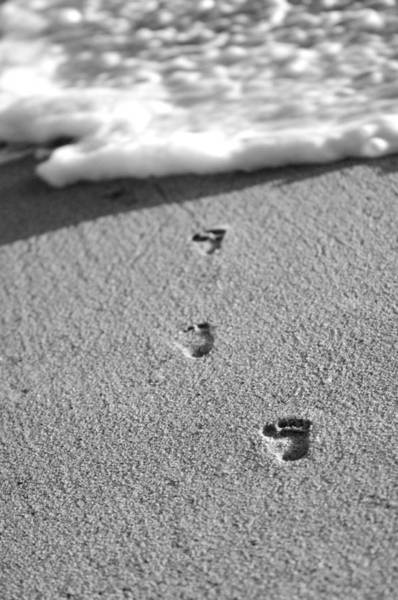 Photograph - Footprints In The Sand Black And White by Jill Reger