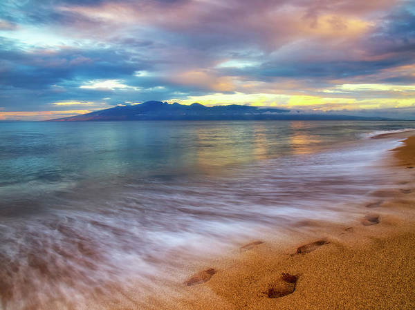 Photograph - Footprints In The Sand On Ka'anapali Beach by Christopher Johnson