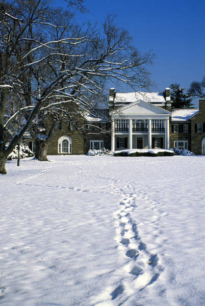 Rockville Photograph - Footprints In The Snow To The Rockville Civic Center Mansion In Maryland by William Kuta