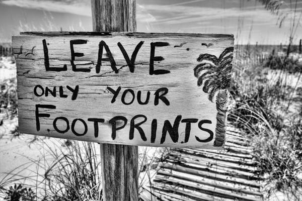 Photograph - Footprints Only Bw by JC Findley