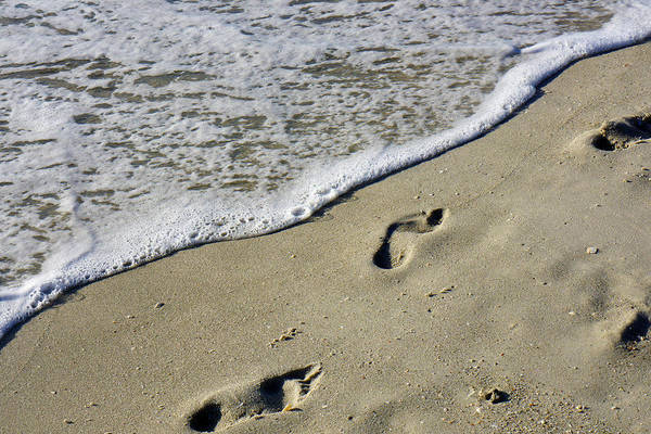 Photograph - Footprints On The Beach by Robb Stan
