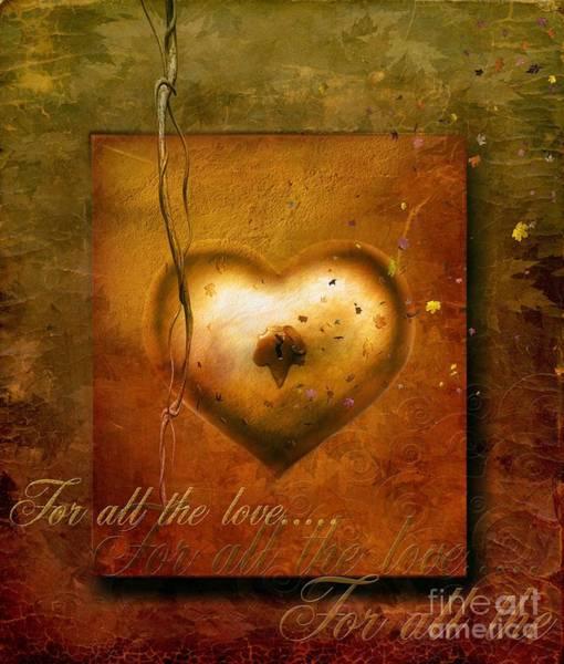 Gold Leaves Digital Art - For All The Love by Jacky Gerritsen