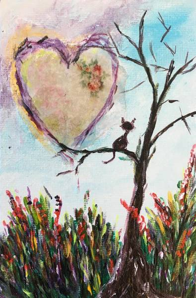 Tree Painting - For The Love Of Cats by Roxy Rich