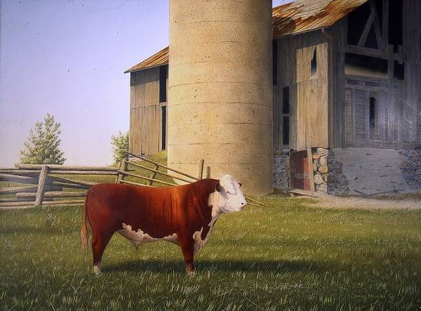 Hereford Bull Painting - For The Record by Conrad Mieschke