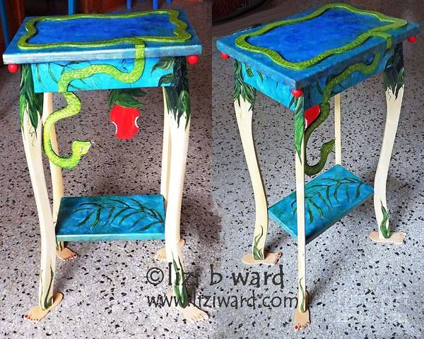 Mixed Media - Works Of Heart Auction For Child Advocacy Memphis Titled Forbidden Fruit Themed Table by Lizi Beard-Ward