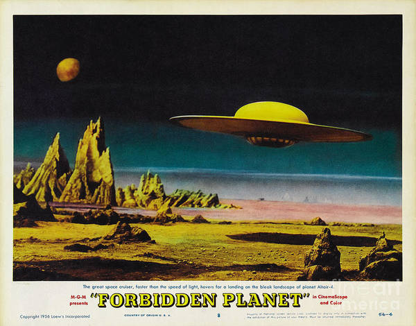 Leslie Nielsen Painting - Forbidden Planet In Cinemascope Retro Classic Movie Poster Detailing Flying Saucer by R Muirhead Art