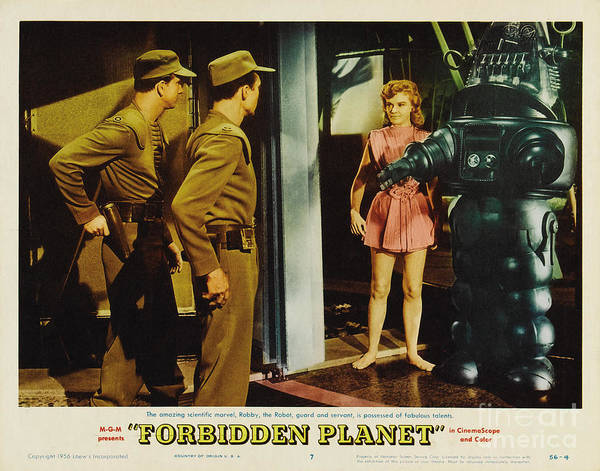 Leslie Nielsen Wall Art - Photograph - Forbidden Planet In Cinemascope Retro Classic Movie Poster Indoors With Robby by R Muirhead Art