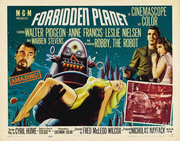 Leslie Nielsen Painting - Forbidden Planet In Cinemascope Retro Classic Movie Poster by R Muirhead Art