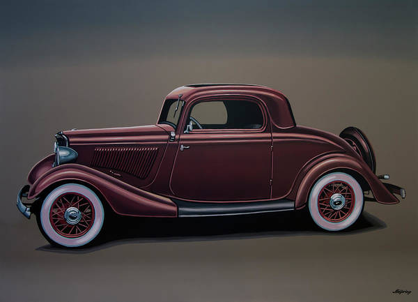 Oldtimer Wall Art - Painting - Ford 3 Window Coupe 1933 Painting by Paul Meijering