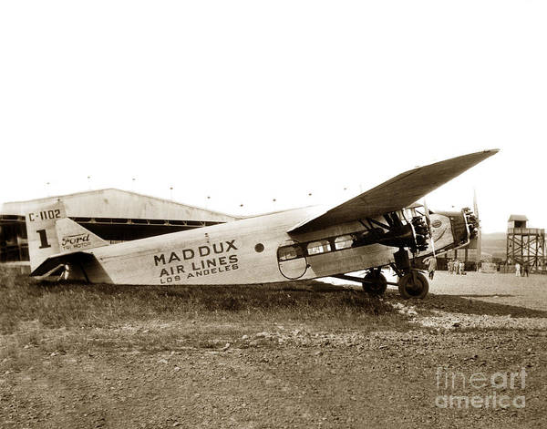 Photograph - Ford 4-at-a Maddux Air Lines Los Angeles Circa 1928 by California Views Archives Mr Pat Hathaway Archives