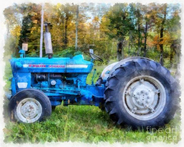 Wall Art - Painting - Ford 4000 Vintage Tractor by Edward Fielding