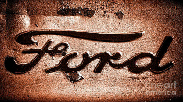 Wall Art - Photograph - Ford Badge Grunge by Olivier Le Queinec