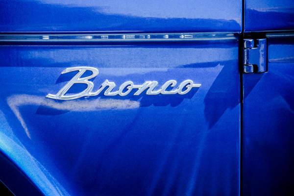 Wall Art - Photograph - Ford Bronco Side Emblem -0827c by Jill Reger