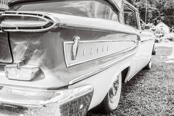 Edsel Photograph - Ford Edsel Black And White by Edward Fielding