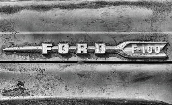Photograph - Ford F-100 Black And White by JC Findley