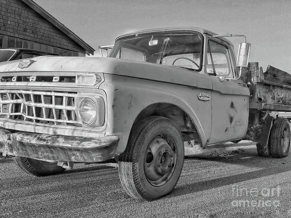Photograph - Ford F-150 Dump Truck Bw by Tony Baca