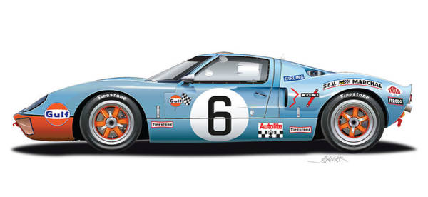 Wall Art - Drawing - Ford Gt 40 1969 Illustration by Alain Jamar
