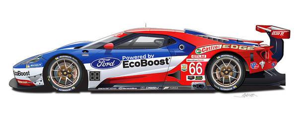 Wall Art - Digital Art - Ford Gt Le Mans Illustration by Alain Jamar
