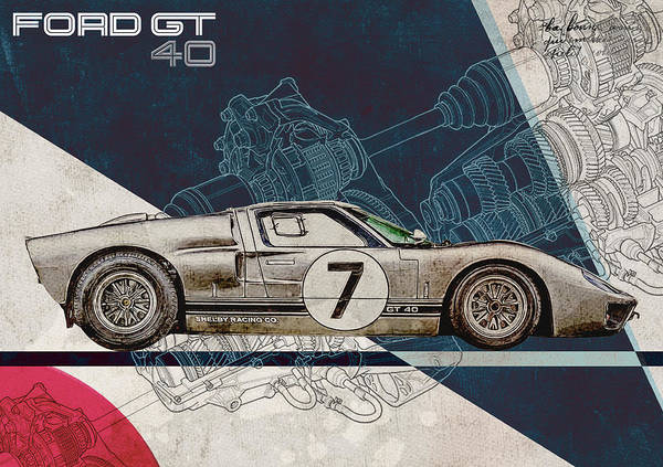 Le Mans 24 Wall Art - Digital Art - Ford Gt40  by Yurdaer Bes
