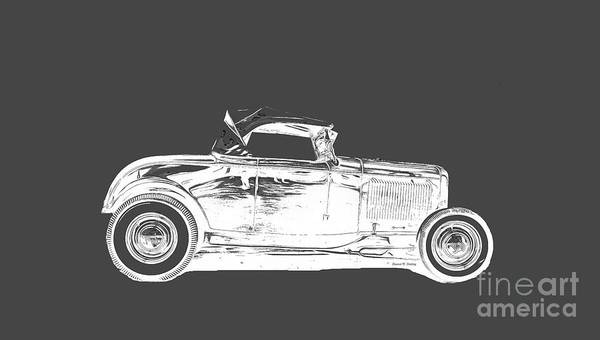 Model Drawing - Ford Hot Rod Invert White Ink Tee by Edward Fielding