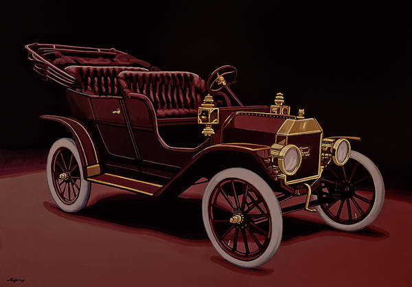 Wall Art - Painting - Ford Model T Touring 1908 Painting by Paul Meijering