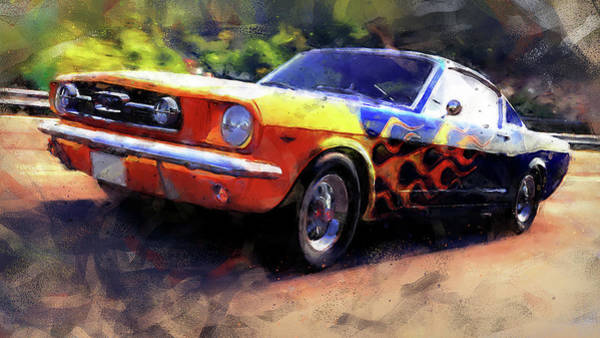 Painting - Ford Mustang Fastback 1966 - 01 by Andrea Mazzocchetti