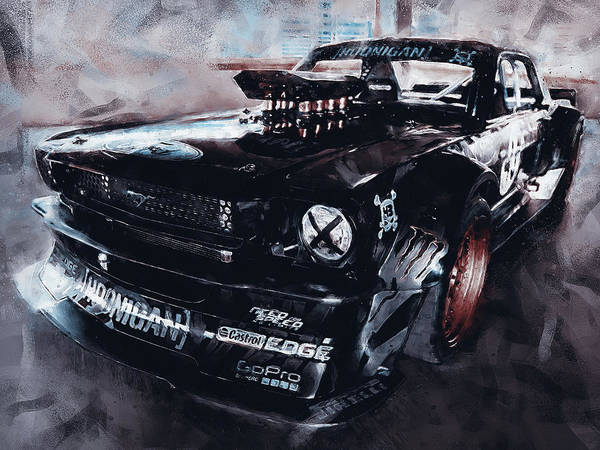 Painting - Ford Mustang Hoonicorn - 08 by Andrea Mazzocchetti