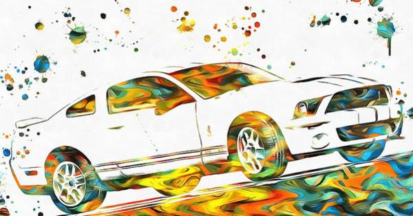Painting - Ford Mustang Paint Splatter by Dan Sproul