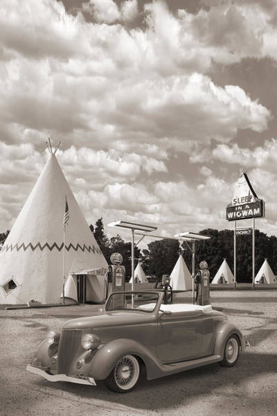 Wall Art - Photograph - Ford Roadster At An Indian Gas Station Sepia by Mike McGlothlen