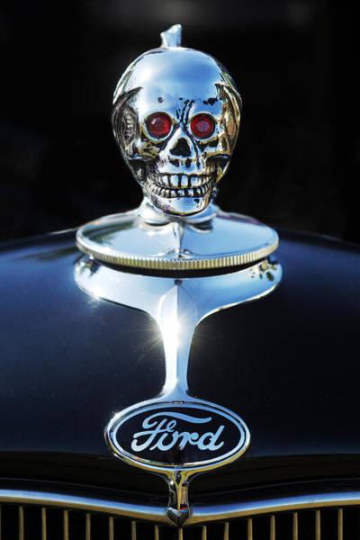 Wall Art - Photograph - Ford Skull Hood Ornament by Jill Reger