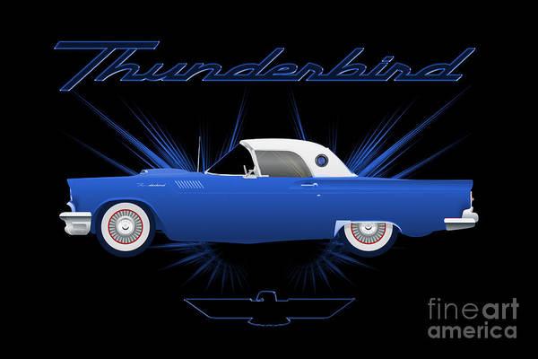 Digital Art - Ford Thunderbird by Carlos Diaz