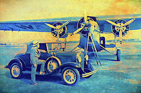 Digital Art - Ford Trimotor And 1931 Model A Roadster by David King