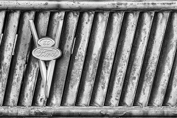 Photograph - Ford V8 Emblem Black And White by JC Findley