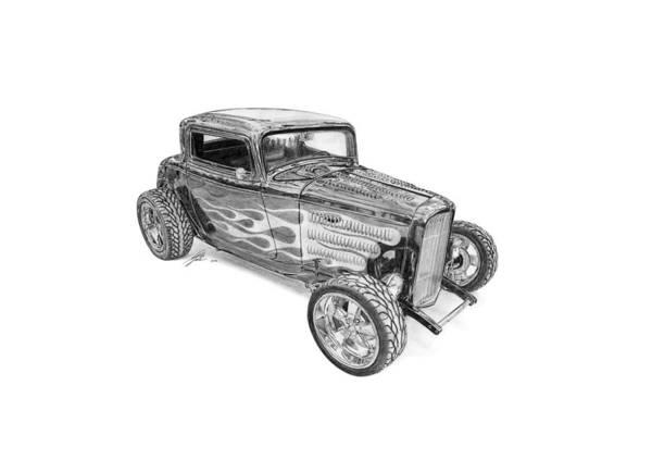 American Car Drawing - Ford V8 Roadster Custom 1932 by Gabor Vida