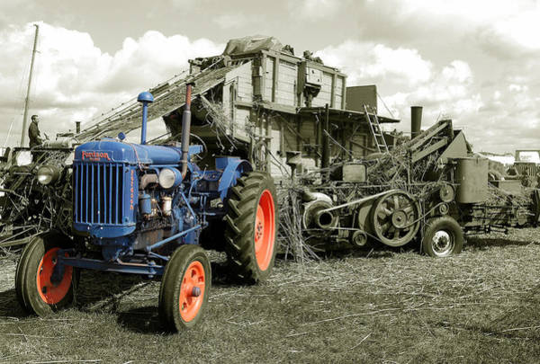 Wall Art - Photograph - Fordson And The Threshing Machine by Rob Hawkins