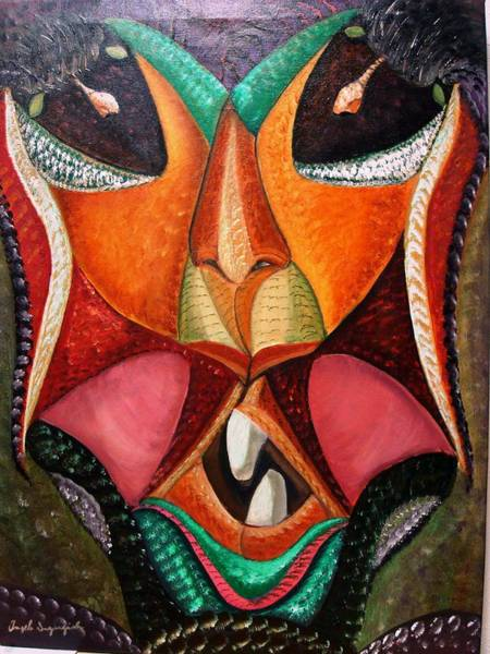 Wall Art - Painting - Foreign Face by Angelo Ingargiola
