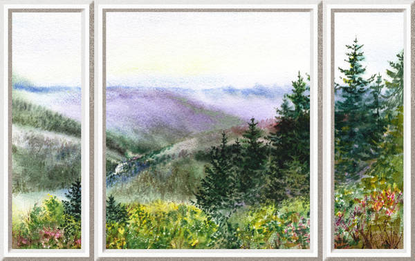 Window Frame Painting - Forest And Mountains Window View by Irina Sztukowski