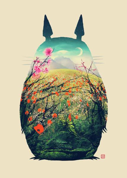 Totoro Digital Art - Forest Dream by Victor Vercesi