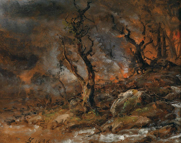 Painting - Forest Fire  by Johan Christian Dahl
