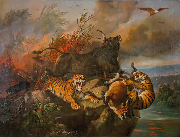 Wall Art - Painting - Forest Fire by Raden Saleh
