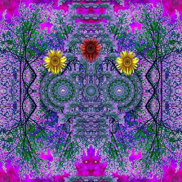 Wall Art - Mixed Media - Forest  Flower Skull by Pepita Selles