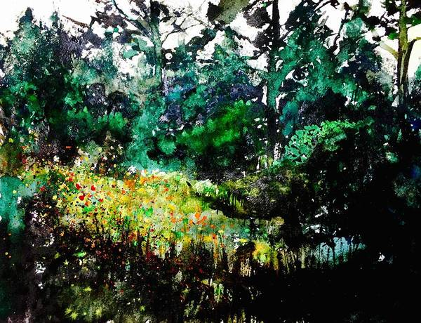 Pine Forest Painting - Forest Glade by Julia S Powell