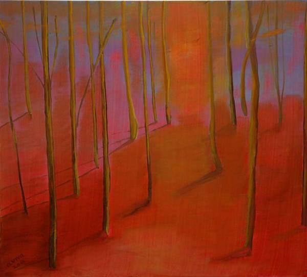 Wall Art - Painting - Forest In Orange by Aviva Moshkovich