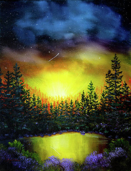 Wall Art - Painting - Forest Lake In Twilight by Laura Iverson