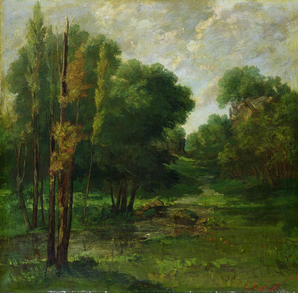 Outdoors Painting - Forest Landscape by Gustave Courbet